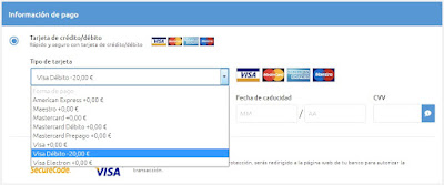 Resta de 20 euros al pagar con Visa Débito