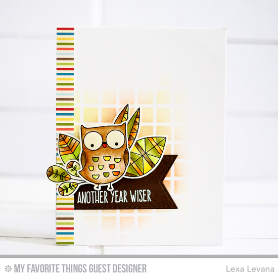 Handmade card from Lexa Levana featuring Well-Connected Alphabet stamp set, I'm Owl Yours and Lisa Johnson Designs Geometric Greenery stamp sets and Die-namics and Large Grid stencil #mftstamps