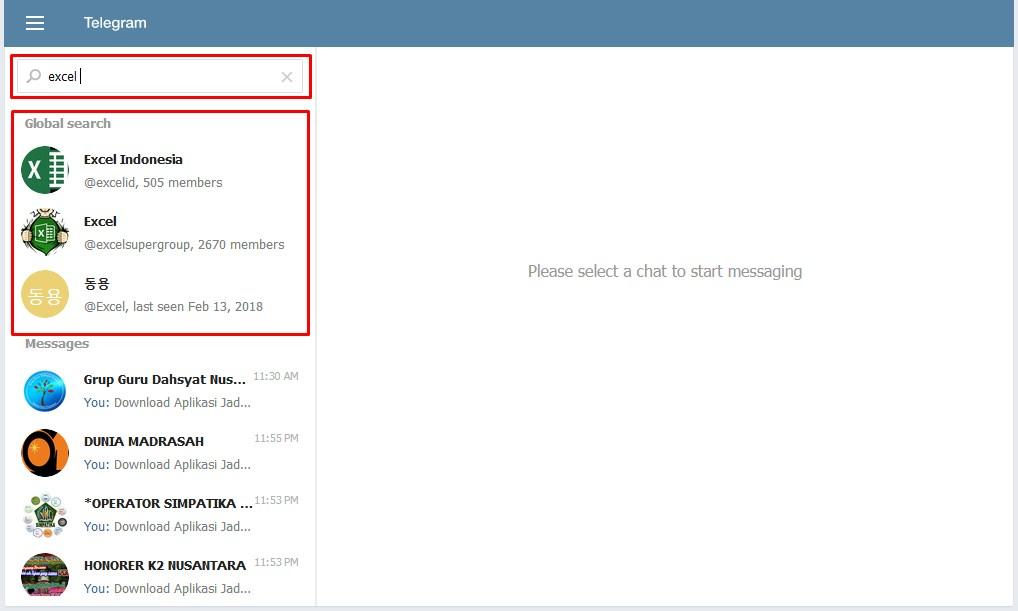 cara mencari grup dan channel telegram