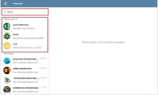 Mencari Grup dan Channel Telegram