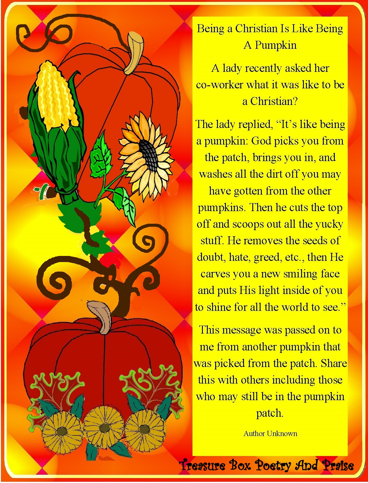 Christian Images In My Treasure Box Fall Harvest Poem