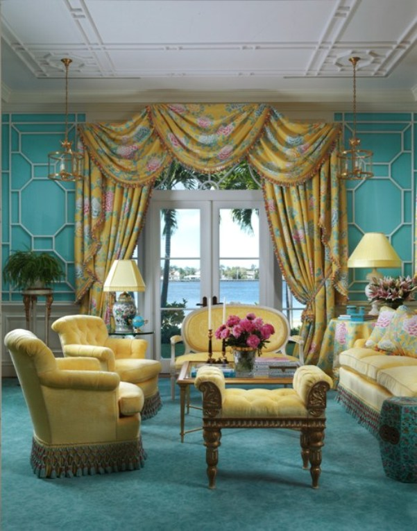 Delicieux I Love How The Aqua In This Room Perfectly Matches The Incredible Water  View. The Yellow And Chintz Is So Cheerful And Sunny! So Very Palm Beach.
