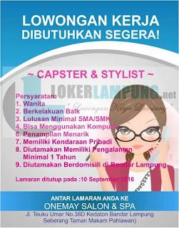 Jobs Bandar Lampung Terbaru di ONEMAY SALON & SPA Agustus 2016