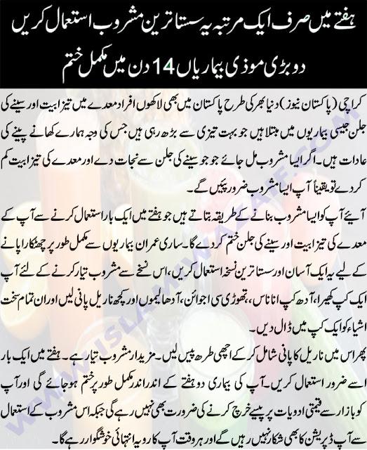maiday mein tezabiyat aur seene ki jalan ka ilaj in urdu