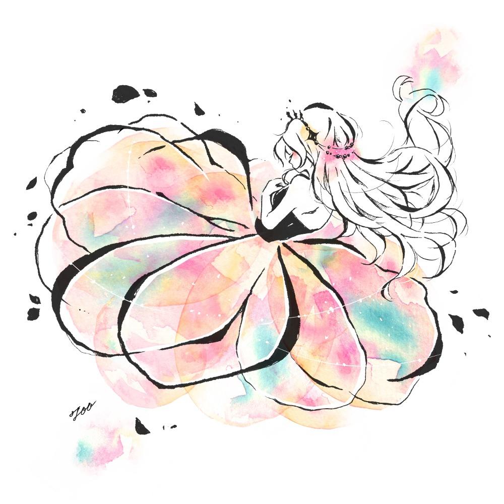 花ドレスの女の子 ボールペンイラストと水彩 遠北ほのかのsurariru