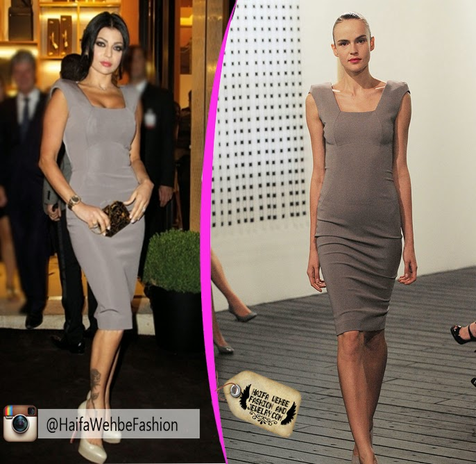 af9d26c0a62 Haifa Wehbe Wearing Gray Dress from Victoria Beckham s Spring 2010Ready-to- Wear Collection