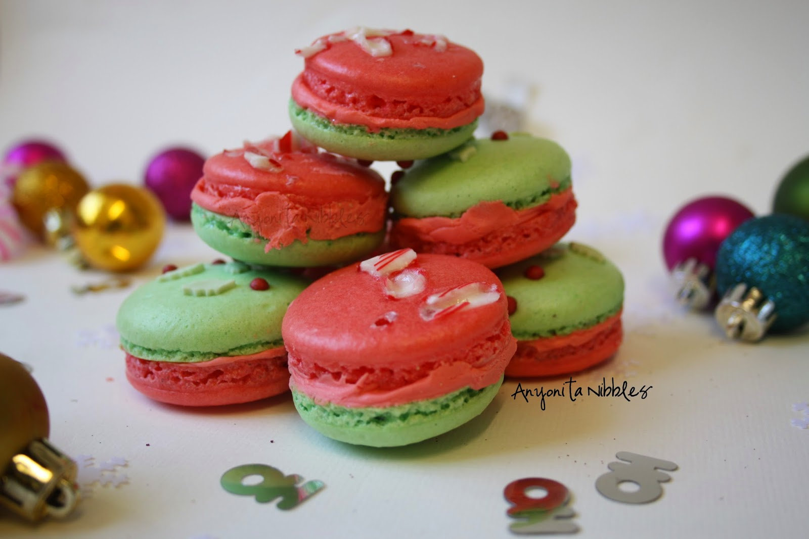 A stack of festive gluten free Christmas peppermint macarons from anyonita-nibbles.co.uk