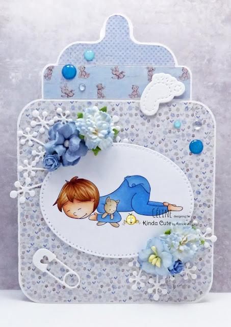Card made by Céline using baby sleeping by Kinda Cute by Patricia Alvarez