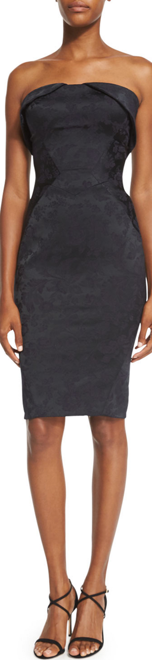 Zac Posen Strapless Fold-Over Jacquard Cocktail Dress, Black