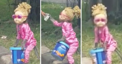 Monkey Dressed As Blonde Little Girl, Forced To Beg