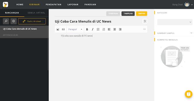 Cara Mendaftar dan Menulis di UC News