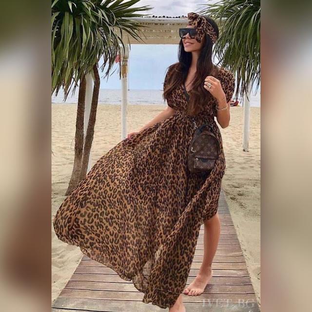 Μεσάτο μάξι χρωματιστό φόρεμα CARLOTTA
