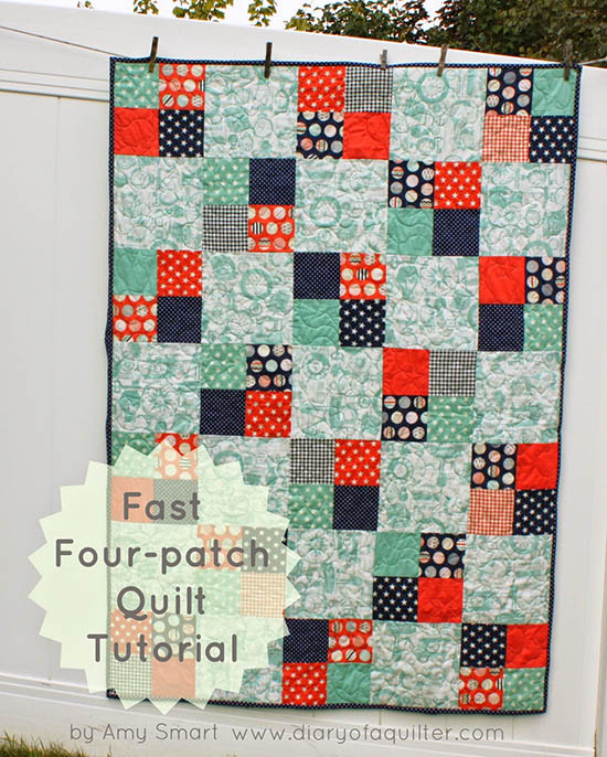 Fast Four-Patch Quilt Tutorial from Diary of a Quilter