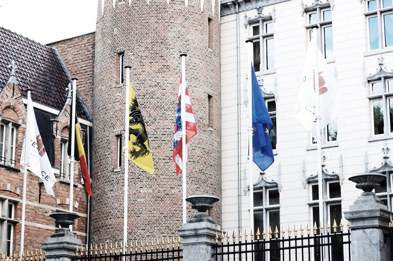 Flags Flying Outside Luxury 5 Star Hotel
