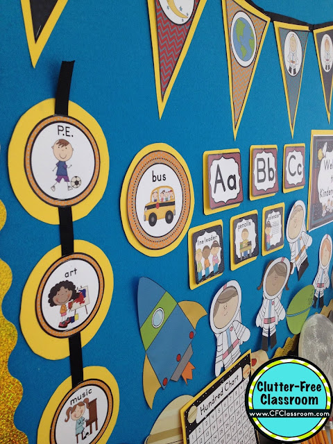 Are you planning a space themed classroom or thematic unit? This blog post provides great decoration tips and ideas for the best space theme yet! It has photos, ideas, supplies & printable classroom decor to will make set up easy and affordable. You can create a space theme on a budget!