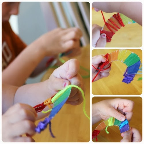 fine motor yarn wrapped rainbow