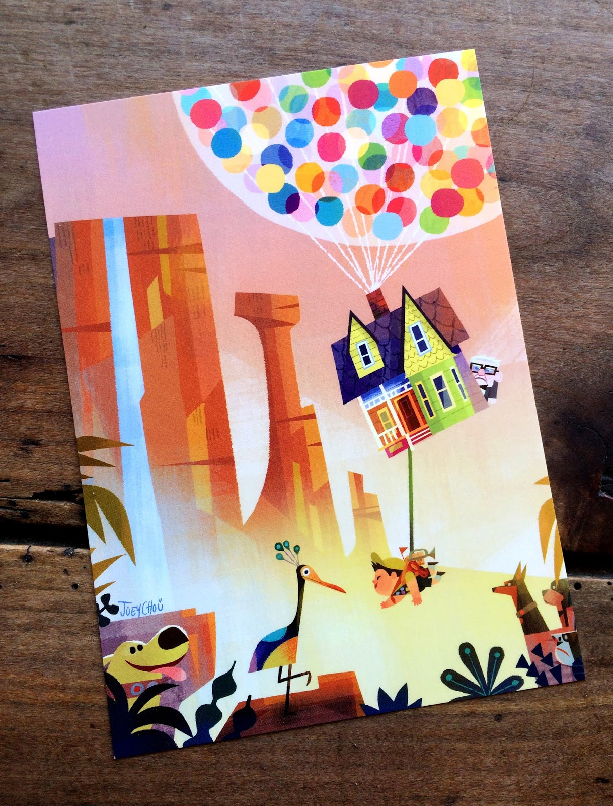 pixar up postcard joey chou