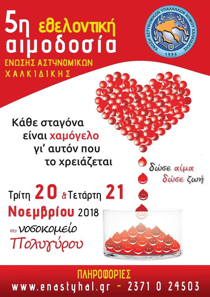 5η Εθελοντική Αιμοδοσία της Ένωσης Αστυνομικών Χαλκιδικής