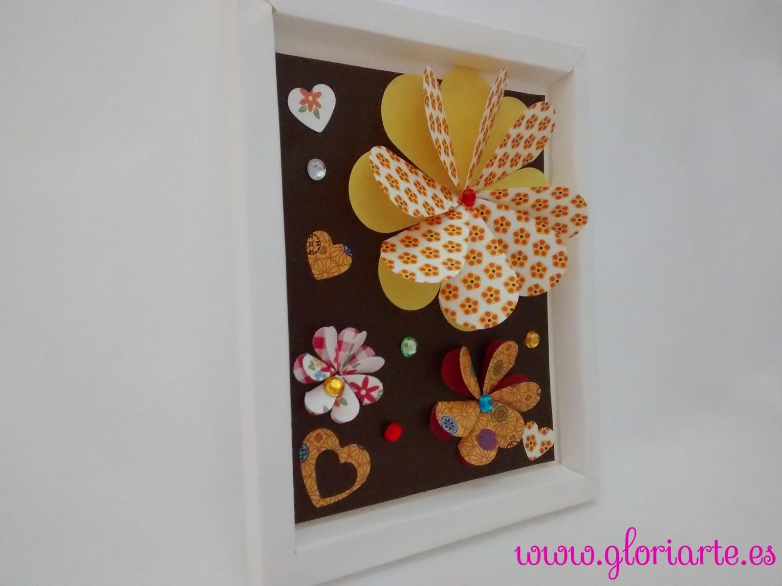 C mo hacer un cuadro con flores de papel en 3d gloriarte for Como hacer mi casa en 3d