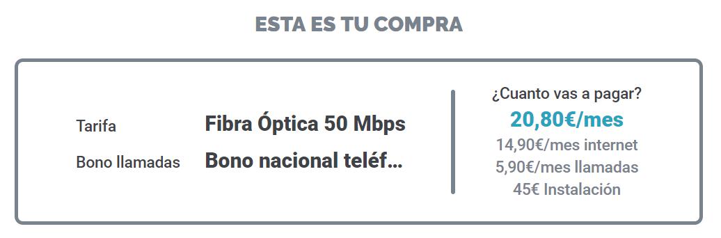 Fi Network precio contratación fibra con bono de llamadas