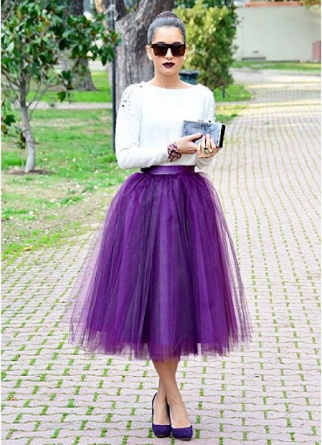 falda de tul morado vintage