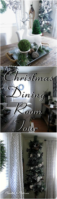 Christmas Decor in the Dining Room using #Rustic touches and a modern green and white color scheme. #diningroom, #christmas #christmasdecor, #decor, #holidays, #entertaining