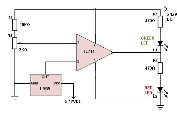 LM35 temperature indicator circuit