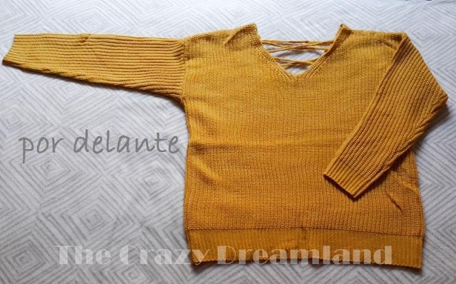 zaful sweater doble v lace up