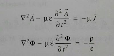 Ecuaciones de onda para los potenciales vectorial y escalar