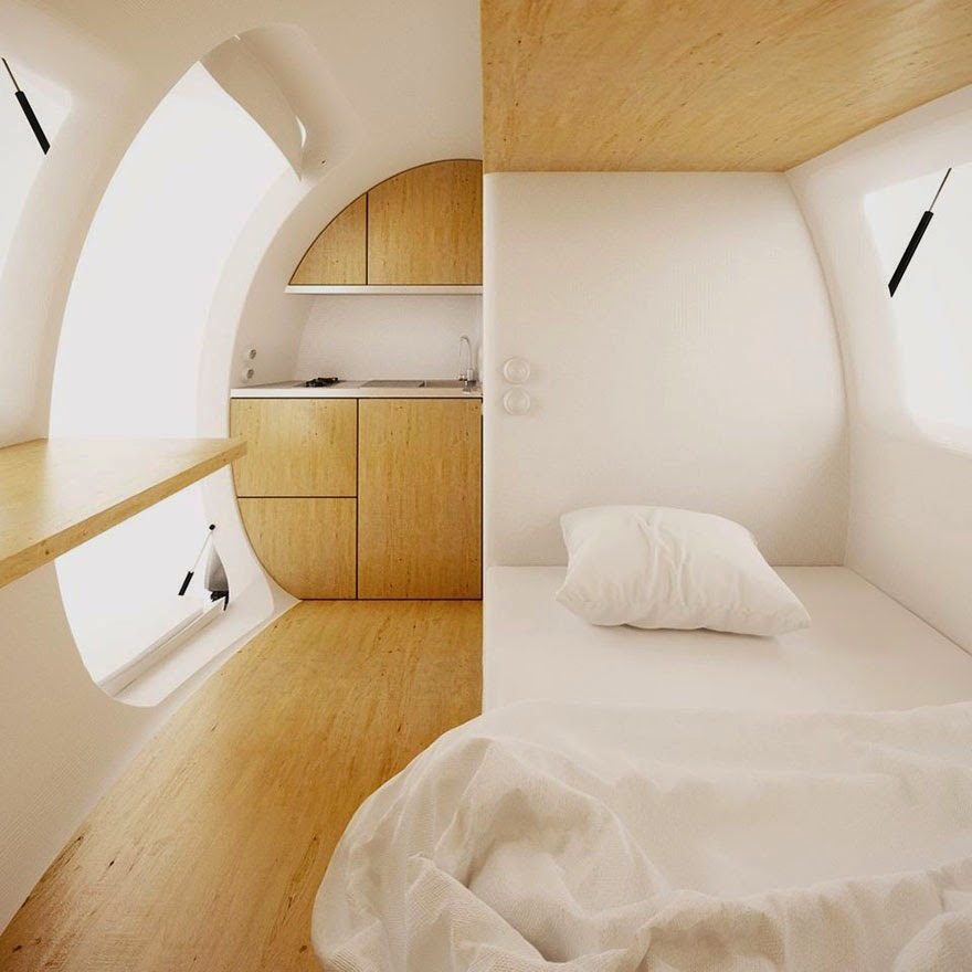 Its interior can comfortably sleep two, and provide 8 sq meters of living space - Tiny Wind & Solar Powered Home Lets You Live Off The Grid Anywhere In The World