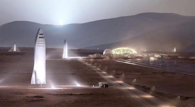 Ilustração artística dos foguetes espaciais BFR na superfície de Marte