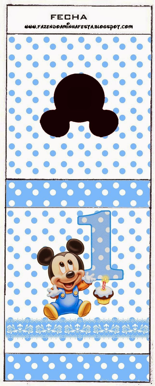 Free Printable Candy Bar Labels for a First Year of Mickey with Polka Dots.
