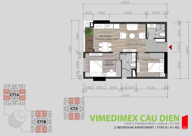 Thiết kế căn hộ 2 ngủ tòa I1A - I1B