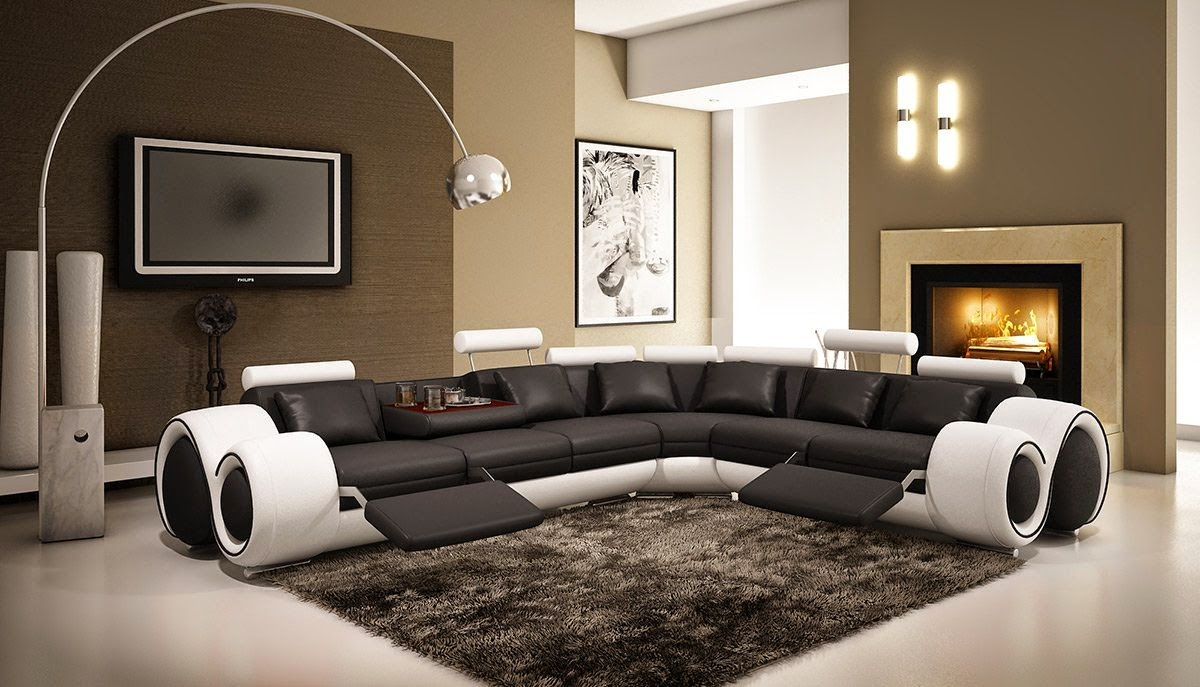 4087 Black U0026 White Curved Back Sofas