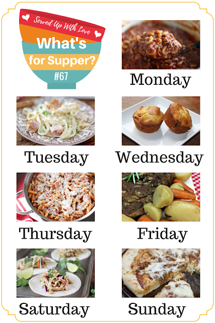 What's for Supper Sunday meal plan recipes include Slow Cooker Roast Beef, One-Pot Chili Mac, Corn Dog Muffins, BBQ Pizza, and so much more.