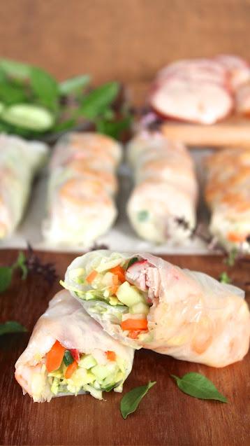 Roast Pork and Sesame Shrimp Summer Rolls (Gỏi Cuốn)