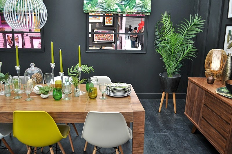 slate grey and green palm Interior trends 2015
