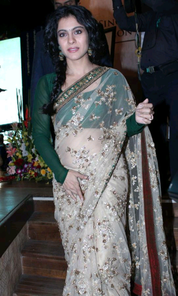 Exotic Kajol hot in transparent saree