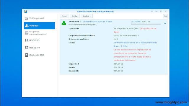 Administrador de almacenamiento Synology DiskStation Manager