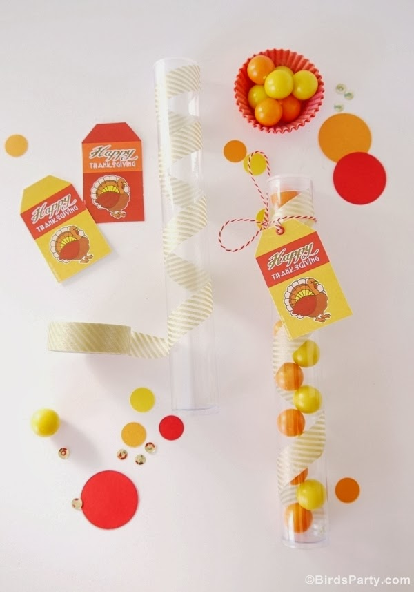 DIY Thanksgiving Party Favors  with Free Printables - BirdsParty.com