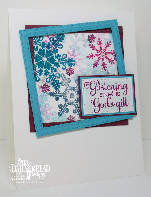 ODBD Snowflake Sentiments, ODBD Sparkling Snowflakes, ODBD Custom Double Stitched Squares Dies, ODBD Custom Double Stitched Rectangles Dies, Card Designer Angie Crockett