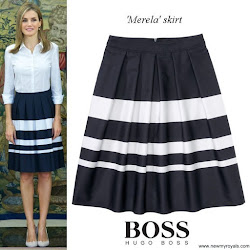 Queen Letizia Style HUGO BOSS Marela Skirt and HUGO BOSS Bashina Shirt