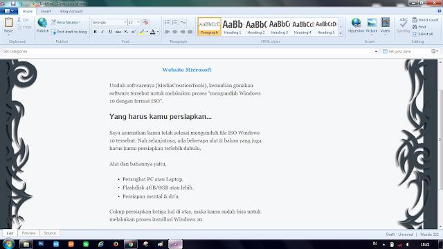 Tampilan Editor Open Live Writer - Menyesuaikan Templete Blog Kamu!