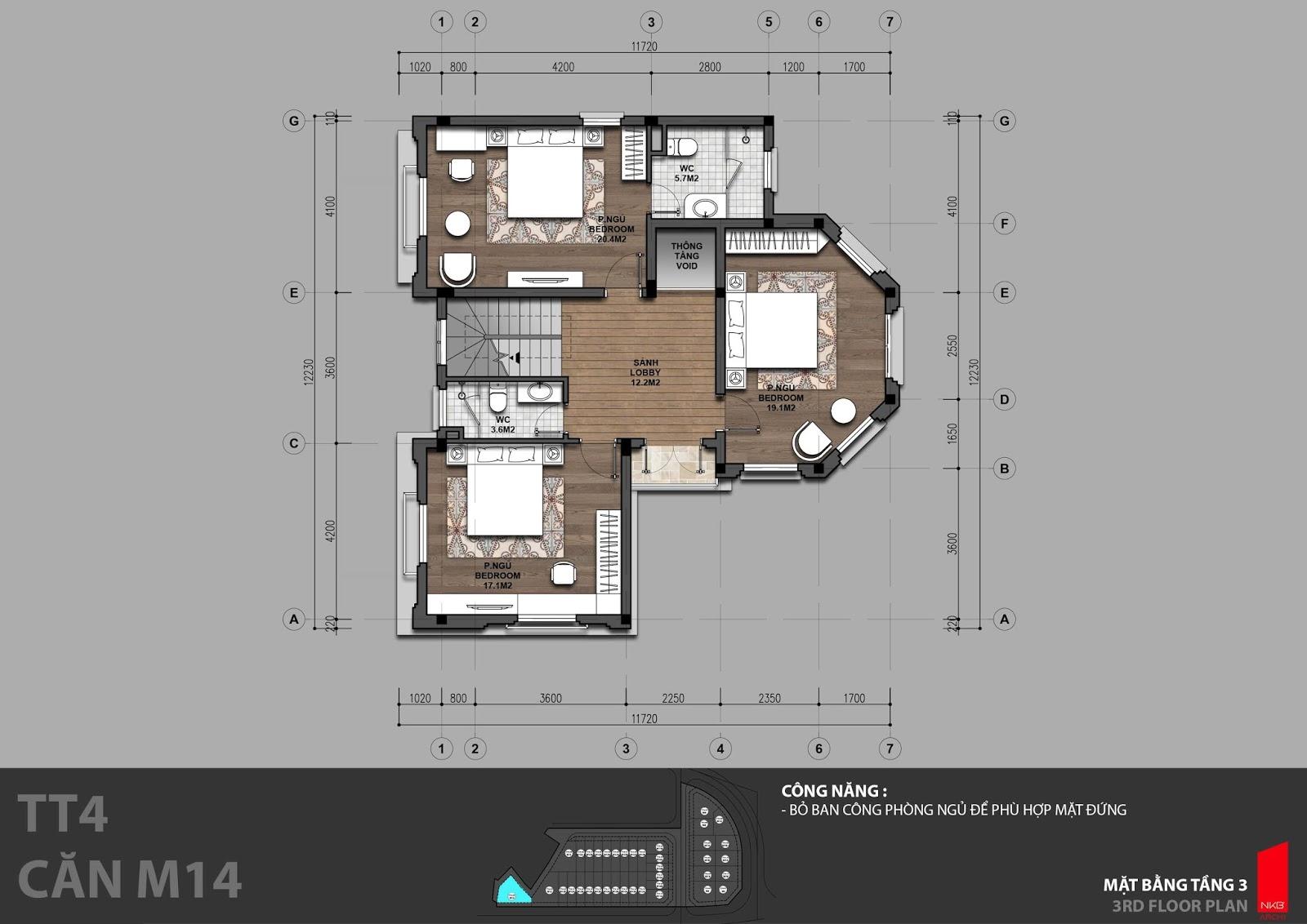 Mặt bằng tầng 3 biệt thự đơn lập