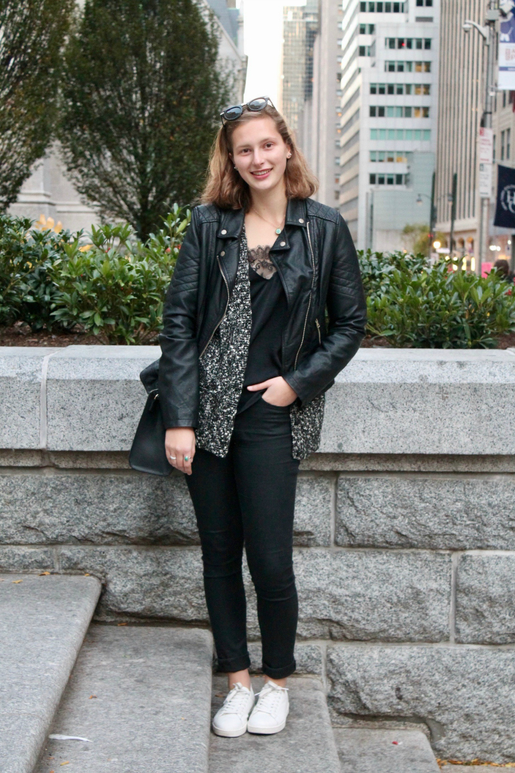 black leather jacket, silk top and dress pants