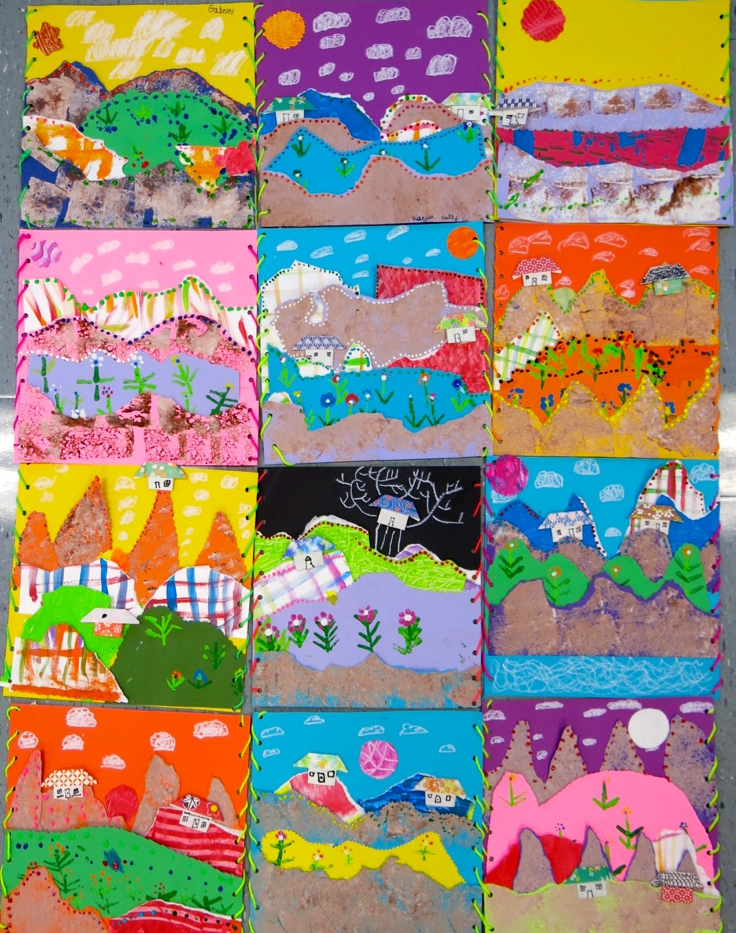 Cassie Stephens In The Art Room Second Grade Collage Landscapes Inspired By Chilean Arpilleras