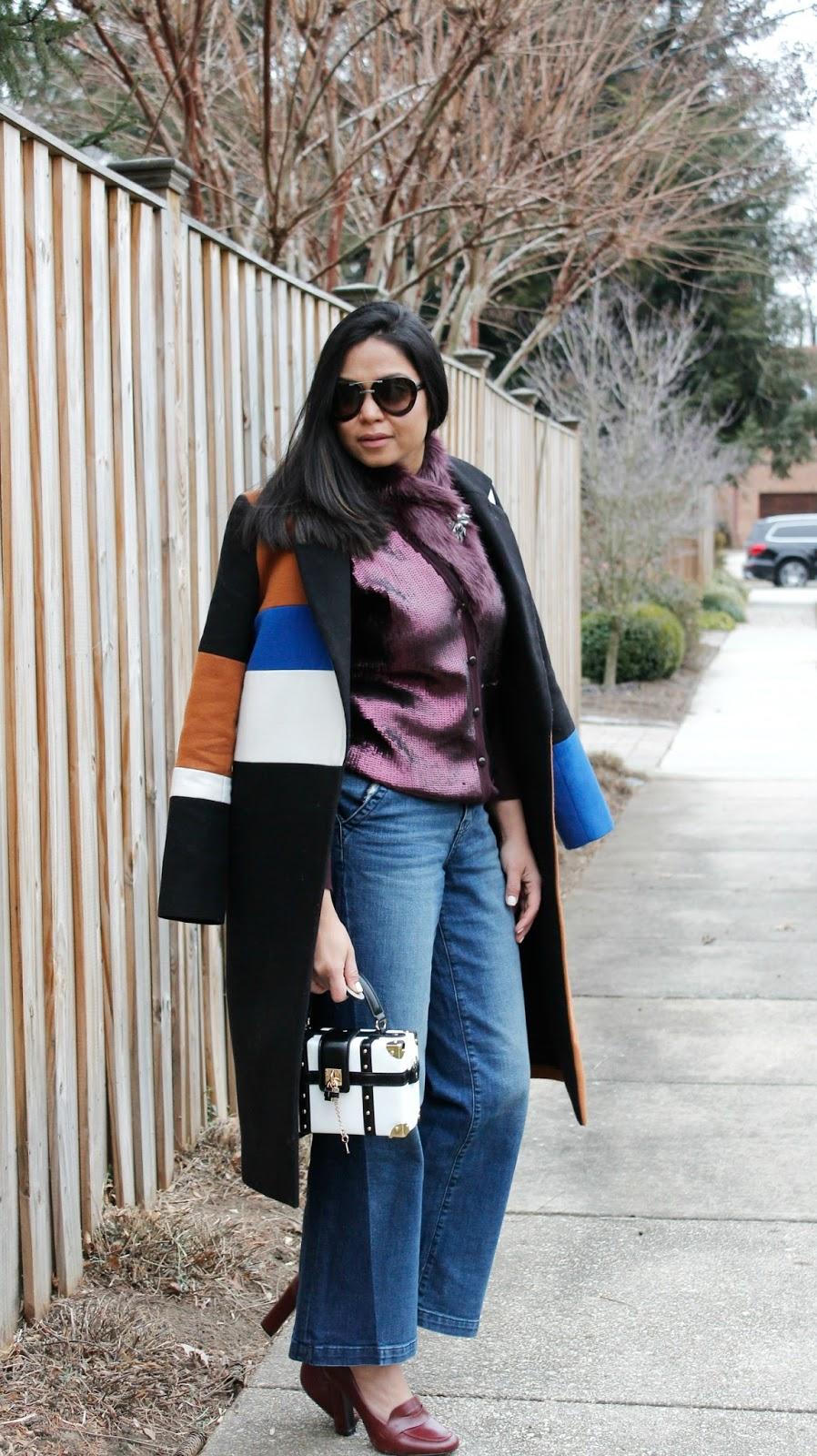 Shop bop color block coat, gap wide leg denim, sequin cardigan with fur, loafers