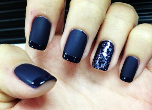 Matte Dark Blue Nail Art Designs No 31 - Designs Art Nail Polish: Matte Dark Blue Nail Art Designs No 31