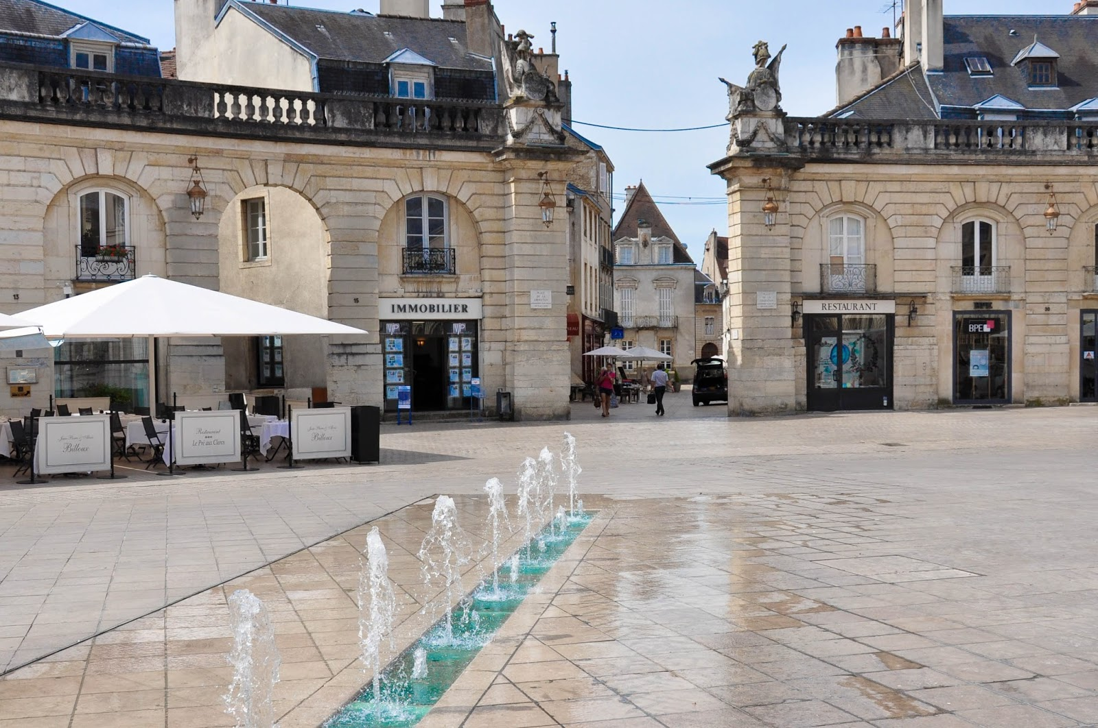 Water fountains, Main Square, Dijon, Burgundy, France