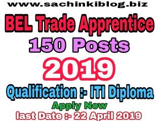 BEL Trade Recruitment 2019 Apprentice